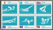 1962 DDR 907-912 samenhangend EK zwemmen / EC  swimming