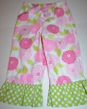 Kelly's Kids Girls 7-8 Pants Capris Cropped Bright Pink Green Ruffle Floral