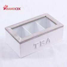 SCATOLA TEA porta bustine THE TE tisane 23x13 legno bianco grigio 3 sco shabby