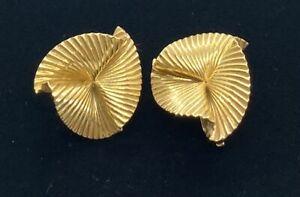 14K Yellow Gold Modernist Clip EARRINGS. Pat 242 3905. 6.8 DWT 10.5 grams