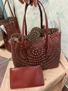 Alaia Leather Lazer Cut-out Tote/handbag, W/pouch, Drop Tag, RV $3050