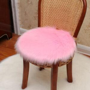 Fluffy Sheepskin Chair Cover Seat Cushion Pad Mat Plush Fur Area Carpet Rug FM