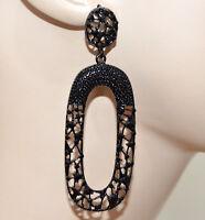 ORECCHINI NERI pendenti ovali donna strass chiodini etnici  boucles earrings A9