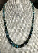 """Santo Domingo Turquoise Rondelle Sterling Necklace 19.25"""""""