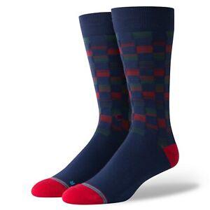 Stance Men Blue Red Crew Nylon Checkered Fusion Christopher Dress Socks 9-12 SJ