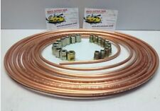 COPPER BRAKE PIPE LINE 25FT 3/16 JOINER MALE FEMALE NUTS ENDS TUBING JOINT KIT