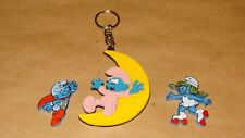 Smurf Lot of 3 Keychain Smurfs Vintage Rare Display Figurines 1995 Baby Moon