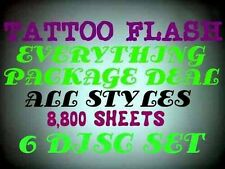 TATTOO FLASH EVERYTHING PACKAGE DEAL PREMIUM ART DESIGNS 8,800 SHEETS ON 6 DISC