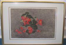 "Yukio Katsuda - ""No. 137"" (Red Begonia) - 1981 Silkscreen - Beautifully Framed"