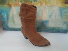 Western Brown Suede Leather Women Slouch Boots Size 9M