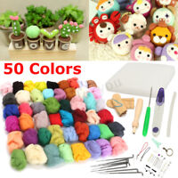 50 Colors Soft Wool Felt + Felting Needle Tool Set Mat Starter DIY Kit Craft UK