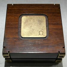 """Omega Rare vintage watch box plastic and brass inner """" wind rose """" good conditio"""