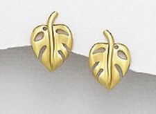1.9g Solid Sterling Silver 16mmx11mm Leaf Stud Earrings 18k Yellow Gold Vermeil