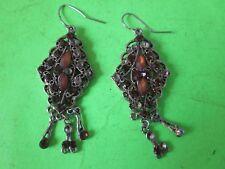 Vintage Earrings with Stones, One Missing a Dangler Shepard's Hook