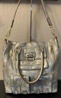 STEVE MADDEN Metallic Leather Satchel Tote Hobo Bag Purse Shoulder Strap