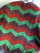 Crochet handmade baby blanket afghan chevron ripple Vanna yarn fall autumn color