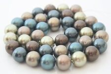 """New Genuine Natural 8mm South Sea Shell Pearl Round Gesmtone Loose Beads 15 """"AAA"""