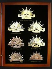 ANZAC 7 RISING SUN BADGE COLLECTION SINCE FEDERATION IN TIMBER CASE - MEDAL
