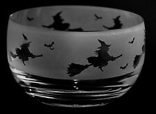 *HALLOWEEN GIFT*  12.5cm CRYSTAL GLASS SWEET BOWL with engraved WITCH frieze