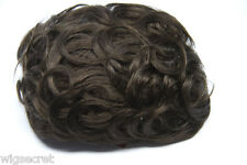 Chestnut Brown Brunette Medium Human Hair Monofilament Hand Tied Wavy Toupee