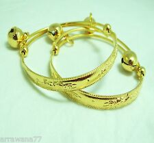 22K 23K Thai  Baht Yellow Gold GP Jewelry Baby Set Anklet Bell 09