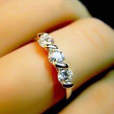 White Gold gp Three Stones Lab Diamond Engagement Wedding Party Band Ring Size 7