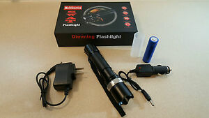 Flashlight LED Rechargeable 18650 or AAA Torch Focus Zoom AC & Car Chargers