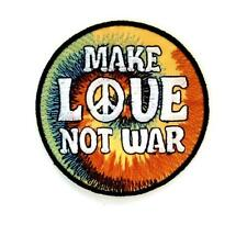 """MAKE LOVE NOT WAR IRON ON PATCH 3"""" Round Embroidered Applique Peace Movement"""