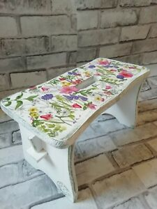 Small Pine Wood Step Stool Wooden Chair Shabby Chic hand  painted - decoupaged