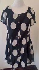 Minkpink Womens Mini Dress Small Cap Sleeve Scoop Neck Polka Dot Lined Adorable