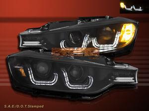 12 13 14 BMW 3-Series F30 Sedan LED U i8 Style Black Projector Headlights Pair
