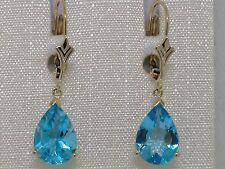Blautopas Ohrhänger 585 Gelbgold 14Kt Gold natürlicher beh. Blautopas