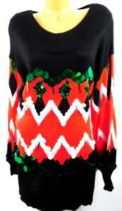 Holiday Time black chevron sequins long sleeves ugly Christmas tunic  sweater 2X