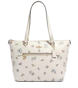 💙 Coach Gallery Tote Dandelion Print Handbag Purse White Floral Flowers BAG NWT