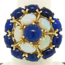 Large Vintage 14k Yellow Gold Opal & Lapis Flower Cluster Dome Cocktail Ring