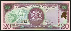 Trinidad & Tobago 20$ 2002 Arms Issue with Hummingbird & Flowers P44a UNC
