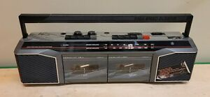 GE AM/FM Stereo Dual Radio Cassette Recorder Boombox 3-5630GYB Vintage Works