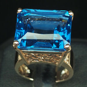 TOPAZ SWISS BLUE OCTAGON 26.70CT.SAPP 925 STERLING SILVER ROSE GOLD RING SZ 6.25