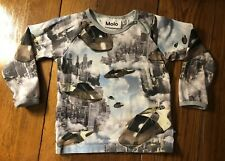 Childrens Shirt-MOLO-Long sleeve-Hover Cars-City Scape-Printed Tee-size 92-2T