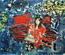 """JACQUES YANKEL. """" Femme à la robe rouge""""  Huile sur toile  ; v 1138."""