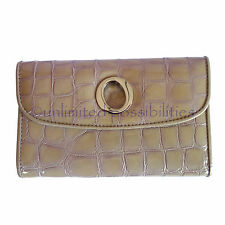 OROTON Raisa Patent  High Fold Clutch Wallet Taupe New Tags Box