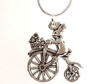 RABBIT ON A BIKE pendant charm necklace 925 sterling silver chain 20 inch