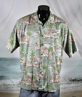 TORI RICHARD 100% Cotton Lawn Button HAWAIIAN SHIRT Sz XL Green Palm Trees Aloha