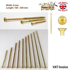 Long Countersunk Self Tapping Torx Wood Chipboard 6 mm Screws Yellow 100-300 mm