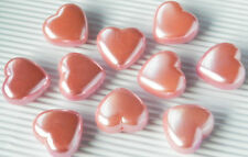 Pink Pearl Heart 25mm Smooth Acrylic Bubblegum Beads Lot Chunky Necklace