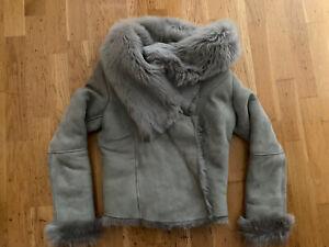 All Saints Grey Shearling Coat, Size 10