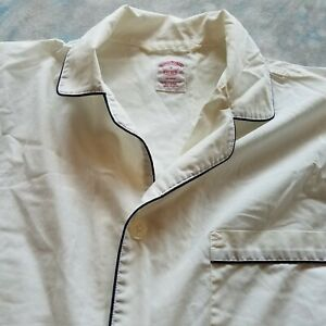 Brooks Brothers Sz S Pajama White Blue Piping Cotton Wrinkle Resistant
