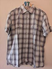 "(17) Men's BHS shirt sleeve box style check shirt Large 46"""