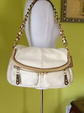 RARE Coach Ltd.Ed Bonnie Bleeker Straw Leather Kiss lock Large Shoulder Handbag
