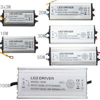 Waterproof IP67 3x3/10/20/30/50/100w LED Light Driver Power Supply AC85-277V NEW